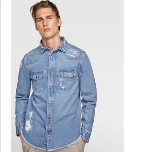 Zara Man Ripped Denim Overshirt 🔥